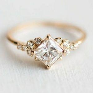 Princess White Sapphire 18K Gold Ring